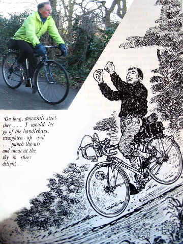 Split photo of a present day cyclist and a 1930s cartoon of a cyclist riding downhill with thumbs up