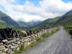 A quiet lane heading into the heart of the Snowdonia mountains