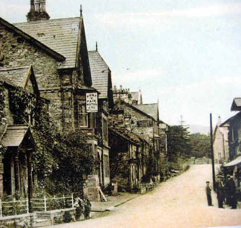 Old tinted photo of Pon-y-Pair Hotel, Betws-y-Coed
