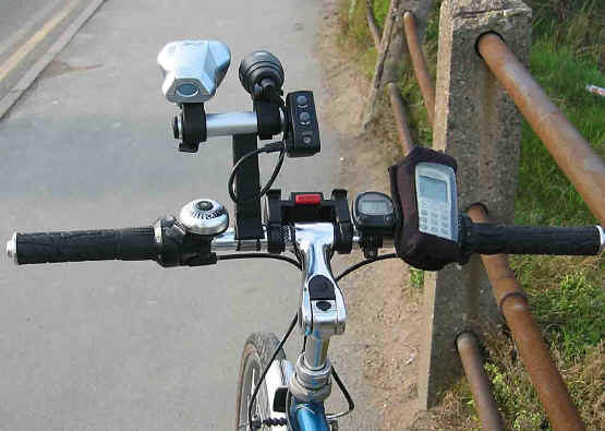All the dashboard gear on the handlebars of Brian MacManus