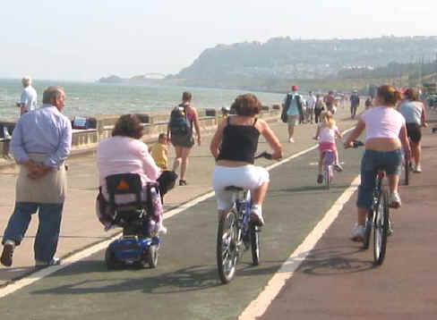 Families cycling on Colwyn prom