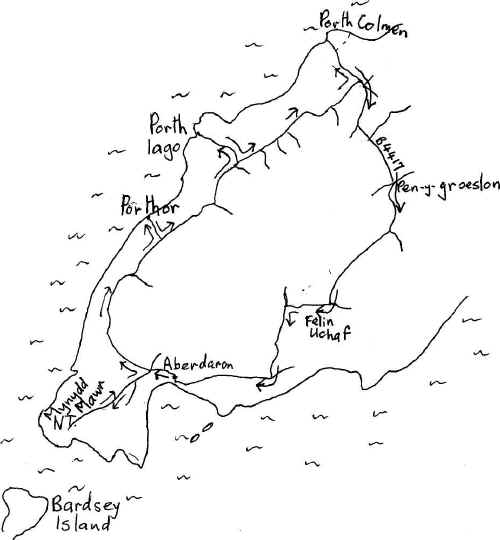 Sketch map of route of cycle ride from Aberdaron