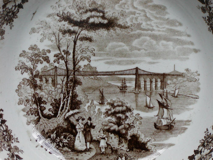 Picture of Menai Bridge as portrayed on 1840s Staffordshire stoneware