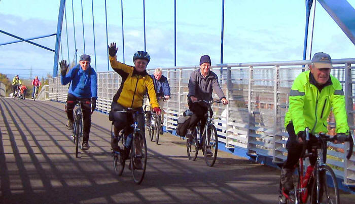 Photo of cyclists crossing Sealand cycle bridge