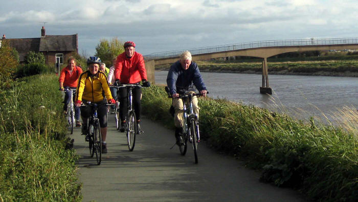 Photo - cycling alongside River Dee